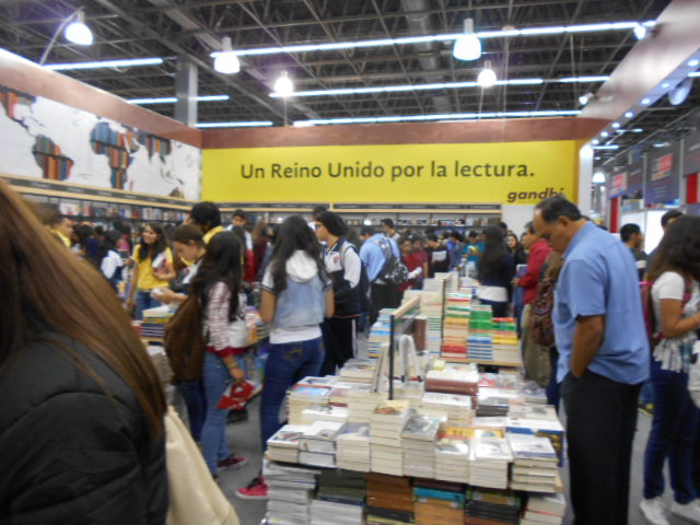 mostly young people at the Gandhi Bookstore booth