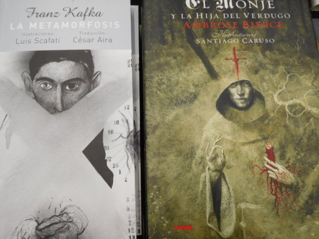 """dark"" titles with unique art work, on the left a Spanish translation from a Franz Kafka German title"